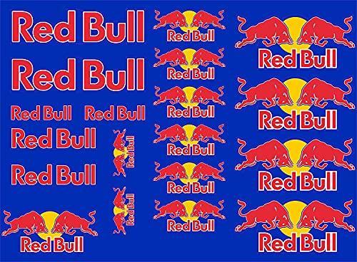 Arte Stampa Juego de 20 adhesivos compatibles con Red Bull azul para coche, moto o motocross.