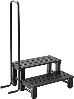 山善 取っ手付きアルミ2段踏み台(耐荷重80kg/ステップ幅26cm/脚部アジャスタ仕様) ダークブラウン YM-8002H