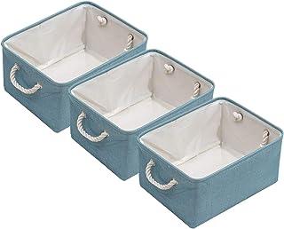 LISU Panier de Rangement Pliable, Lot de 3 Boîte de Rangement en Tissu pour Jouets Livre Vêtement, Organiseur Cube de Rang...