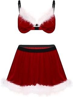 easyforever 2Pcs Men Adults Red Velvet Sissy Christmas Santa Costume Lingerie Set Nightwear Partywear