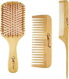 LELE Natural Bamboo Comb Set Wooden Massage Hair Brush with Wide Tooth Comb & Grooming Comb for Women Men and Kids - Reduc...