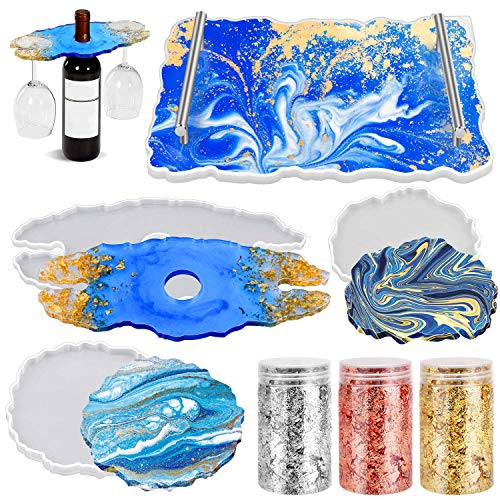 Silicone Resin Tray Molds, Flasoo Geode Agate Platter Molds with 2Pcs Metal Handles, Wine Rack Resin Casting Molds with 2Pcs Coaster Resin Molds, Gold Flakes for Making Faux Agate Tray, Serving Board