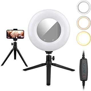 "EEEKit LED Ring Light 8.6"" with Tripod Stand and Mirror for YouTube Video and Makeup, Mini LED Camera Light with Cell Phone Holder Desktop LED Lamp with 3 Light Modes & 11 Brightness Level"