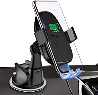 Nulaxy Wireless Car Charger Mount, Auto Clamping 10W /7.5W Fast Charging Qi Car Phone Holder Dashboard Compatible with iPhone Xs/Xs Max/XR/X/ 8/8 Plus, Samsung Galaxy S10 /S10+/S9 /S9+/S8 /S8+