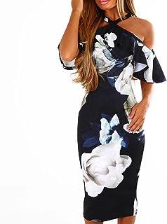 Womens Dresses Women's Summer Cross Off Shoulder Bodycon Floral Dress Party Evening Midi Dress