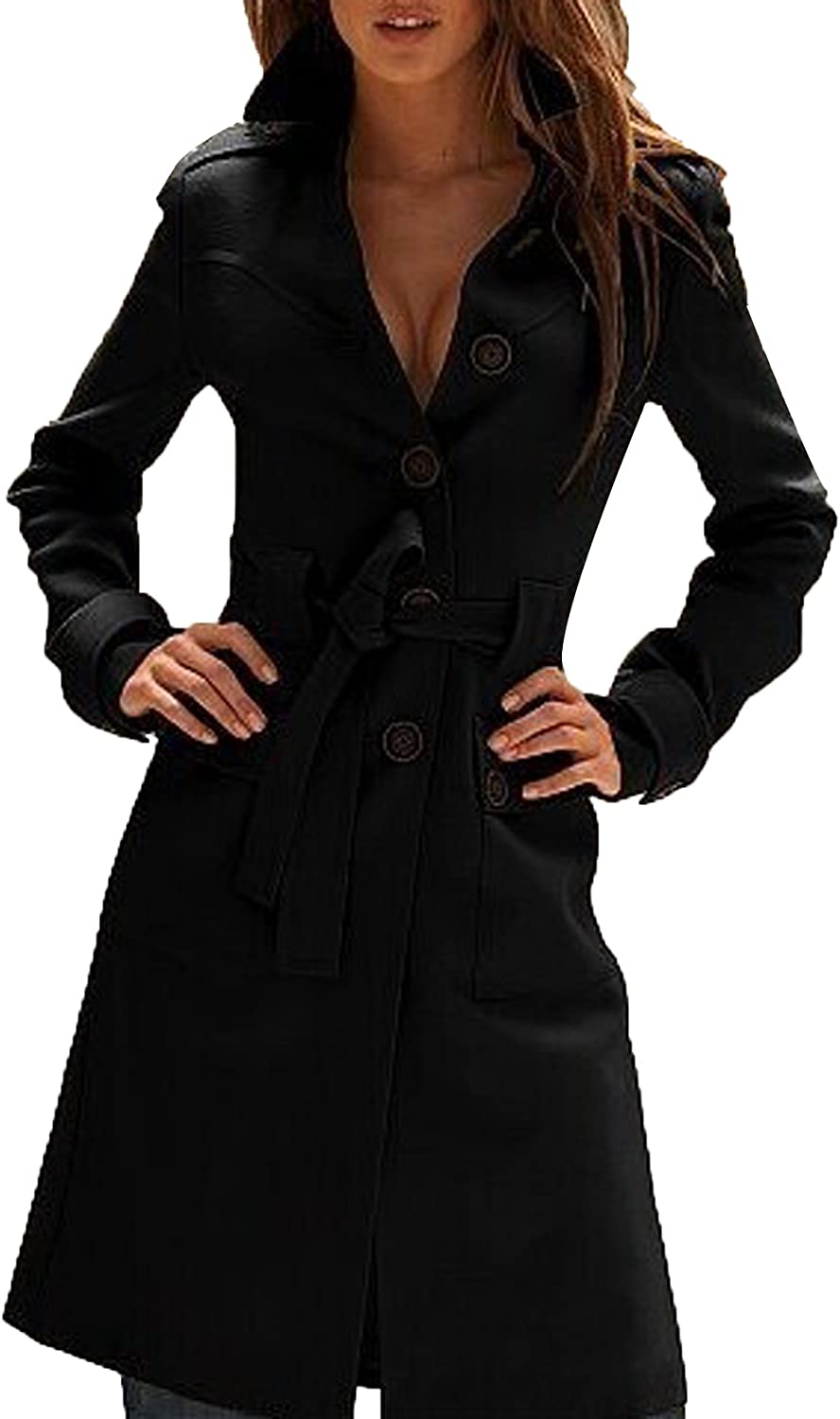 JOKHOO Women's Fashion Lapel SingleBreasted Trench Coat Wool Outerwear Coats