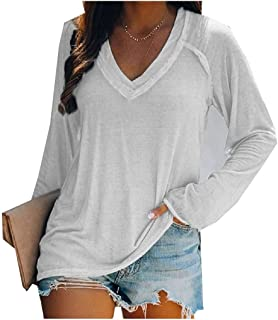 Zimaes Womens Oversized Long Sleeve Lounge V-Neck Solid Blouse T-Shirt Top