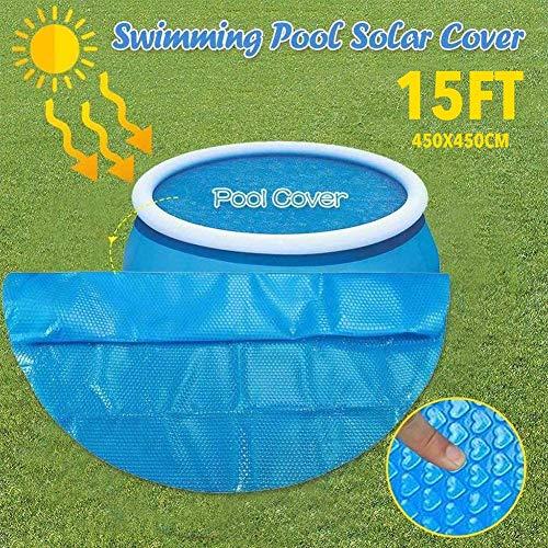 Dream-cool Poolabdeckung Rund Pool Abdeckplane Für 450 X 450 cm Schwimmbad, Easy Set Pool Solarabdeckung, PE Bubble Solarfolie, Reduziert Die Wasserverdunstung Um 95