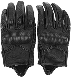 Homme Motorcycle Gloves, Leather Waterproof Motorcycle Gloves Men, Touch Screen Motorcycle Gloves for Cross Country Bicycle Cycling Gloves Full Finger Bracelet Motorcycle Motorcycle Equipment