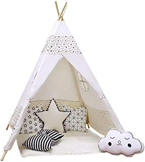 Teepee Tent Kid with Mat, MyCuteBabyLife Kids Tent for Boys, Girls Indoor & Outdoor 100% Natural Cotton Canvas Star Kids P...