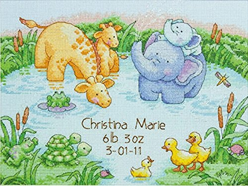 "Dimensions Little Pond Birth Record Counted Cross Stitch Kit, Baby Shower Gift, 12"" x 9"""