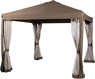 Abba Patio 10 x 10 Feet Gazebo Soft Top Fully Enclosed Garden Canopy with Mosquito Netting - Brown