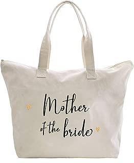 Caraknots Women Mother of the Bride Tote Bag Wedding Bridal Shower Gifts Zip Canvas Shoulder Bag with Interior Pocket 100% Cotton