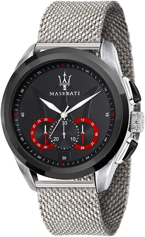 Maserati orologio cronografo, in acciaio da uomo, collezione traguardo 8033288795100