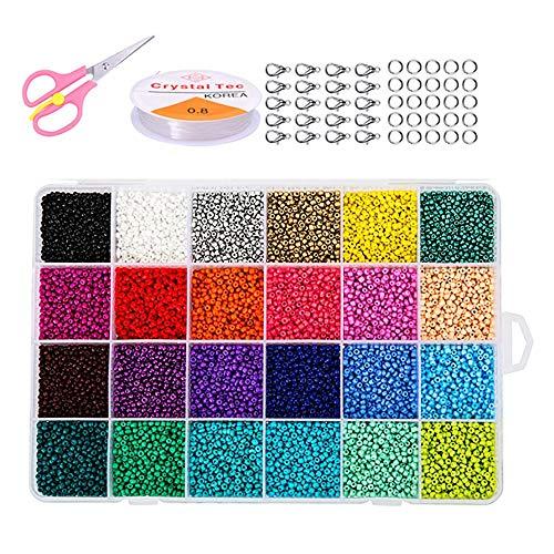 Hanbee Cuentas de Colores para Los niños 24000 Piezas,2mm Mini Cuentas y Abalorios Cristal para DIY Pulseras Collares Bisutería Regalo Cadena(24 Colores)