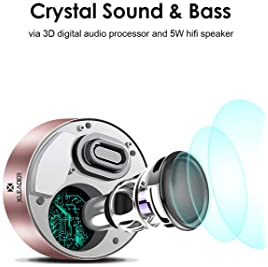 XLEADER SoundAngel (2 Gen) 5W Touch Bluetooth Speaker with Waterproof Case, 15h Music, Louder Crystal HD Sound, Premi...