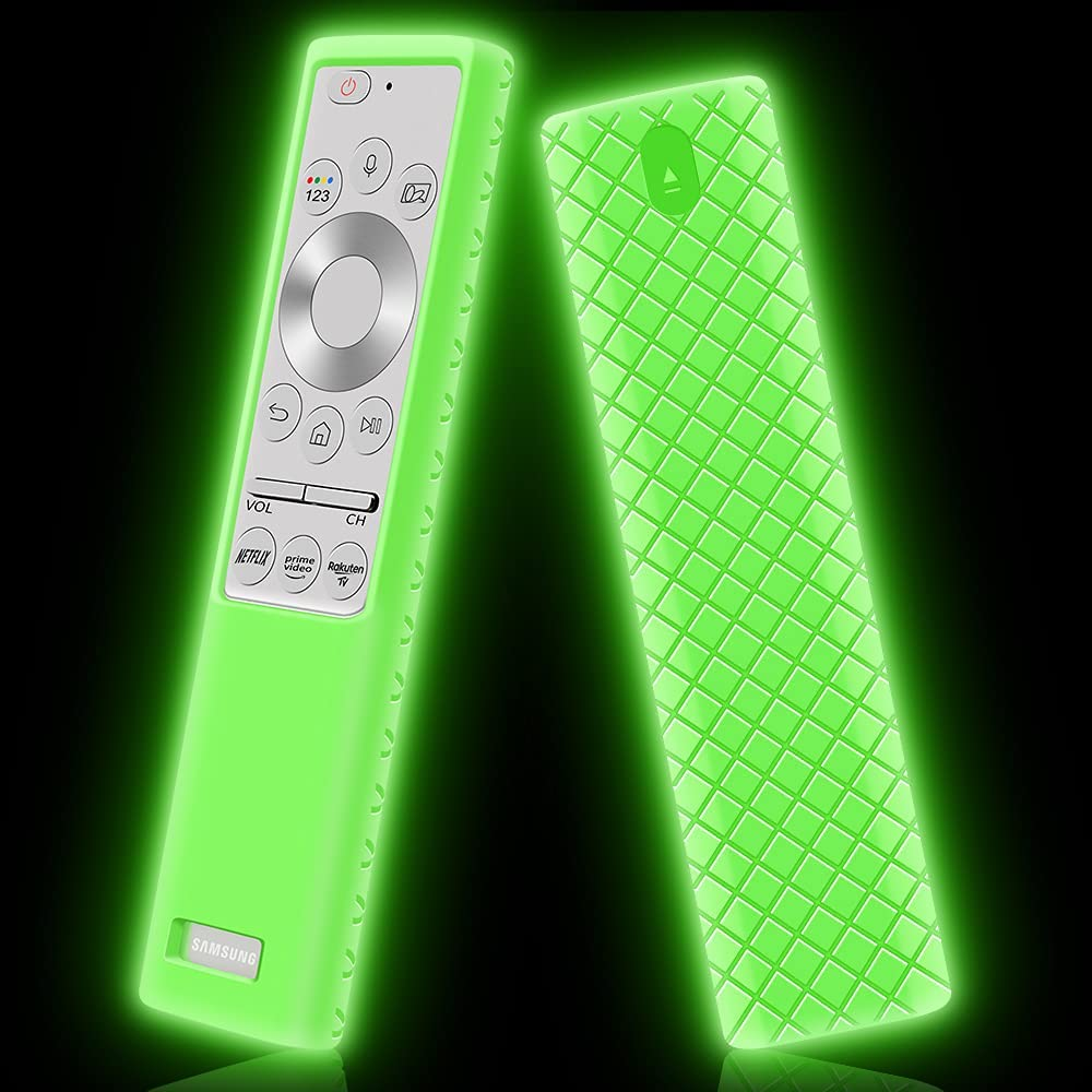 Protective Case for Samsung BN59-01311 BN59-01265A BN59-01357 BN59-01363A Remote Silicone Battery Back Cover Holder Shockproof Anti-Slip Covers for Samsung Smart QLED TV Remote Control (Glow Green)