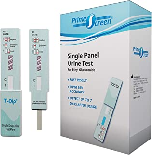 Prime Screen EtG Alcohol Urine Test - at Home Rapid Testing Dip Card Kit - 80 Hour Low Cut-Off 300 ng/mL - WETG-114 (5)