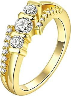 NEVI A5 Grade Zircon Crystals Gold Plated Ring for Women and Girls (Gold)