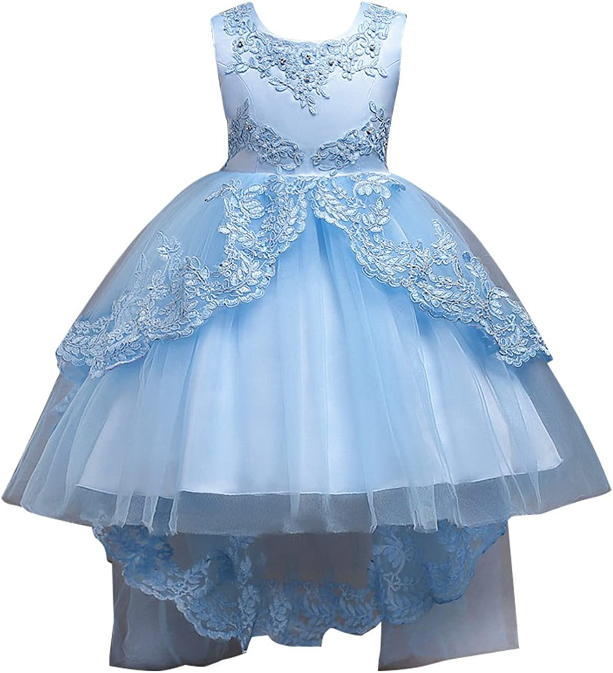 EFOFEI Girls Lace Embroidery Pageant Princess Dress Toddler High Low Tutu Gown Wedding Flower Girl Dresses