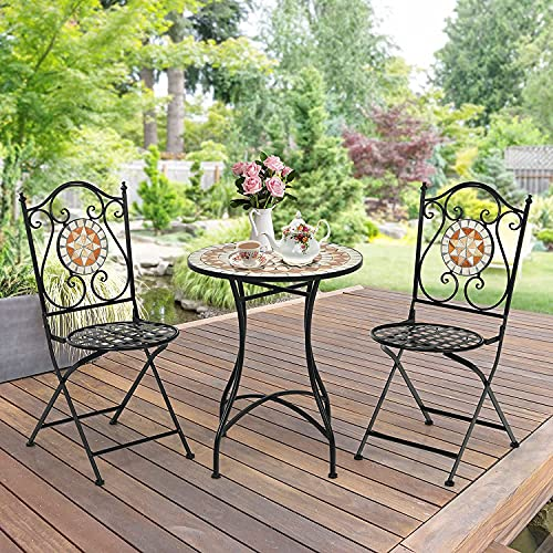 COSTWAY 3 Piece Bistro Set Metal Dining Sets, Mosaic Garden Table 2 Seater Folding Chairs, Patio Desk and Chair Set Indoor Outdoor Furniture Sets for Home Yard Balcony