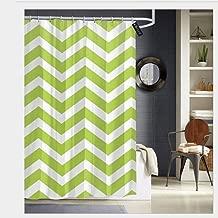 Puloa Lime Green Chevron Toss Shower Curtains with 12 Hooks,Durable Bathroom Curtain 72