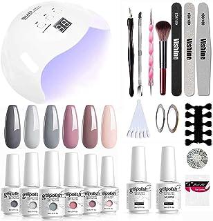 Vishine UV LED Nail Lamp Gel Nail Kit, Upgraded 40W Gel Nail Polish LED UV Light 6 Colors Gel Base Top Coat Professional N...
