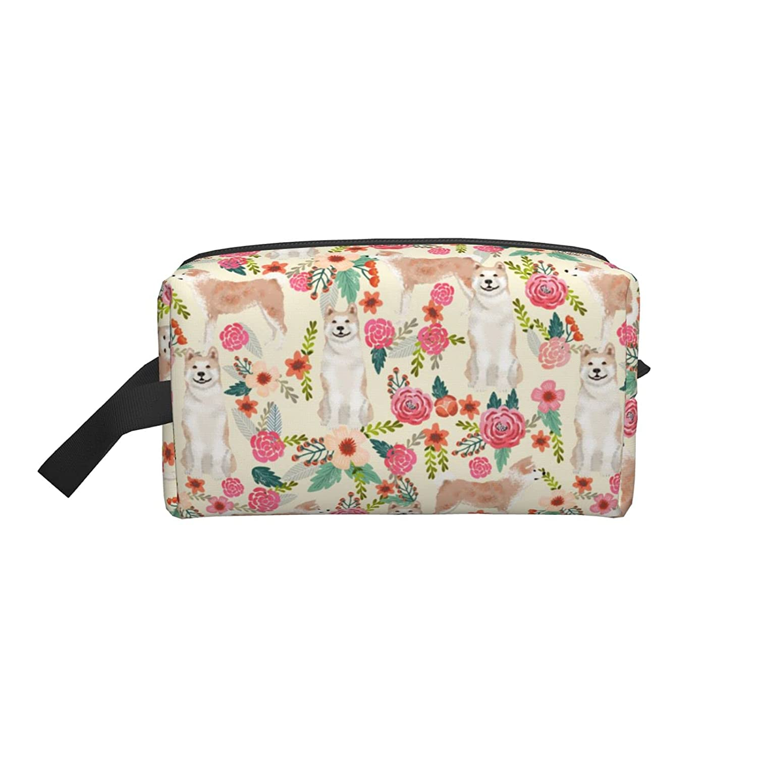 Akita Dogs And Florals Ranking TOP10 Brand new Travel C Portable Makeup Train Bag