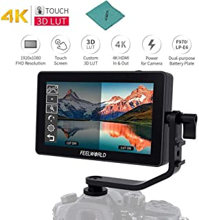 Feelworld F6 Plus Kit de Monitor de Campo en la cámara de 5.5 Pulgadas Ayuda de Video 3D LUT con Parasol Soporte de inclinación Entrada y Salida de 4K HD 1920 * 1080 píxeles HD IPS Pantalla táctil