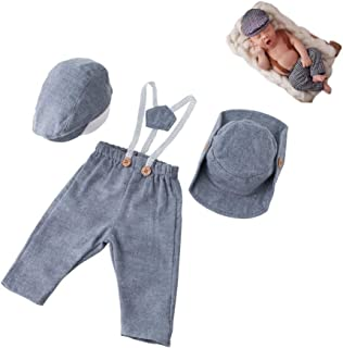 Newborn Infant Monthly Baby Photography Props Boys Girls Gentleman Cap Cowboy Hat with Romper Sets