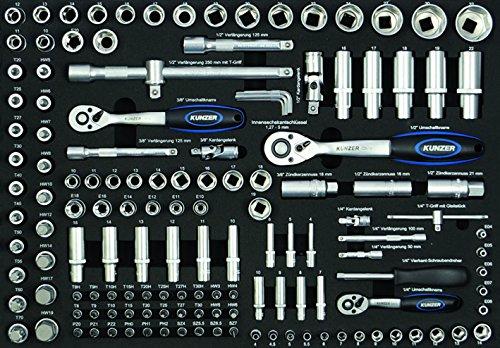 3 Knarren 3 Kardangelenke 5 Verlängerungen 74 Steckschlüsseleinsätze Ø 4 mm bis 32 mm, 49 Schraubendrehereinsätze (TX-Innensechskant-PH.-PZ.) u.v.m.
