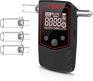 Oasser Alcohol Tester Rechargeable Breathalyzer Window Breaker 2-in-1 Professional Semi-Conductor Sensor with LCD Display and Mouthpieces