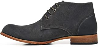 JIANFEI LIANG Men's Ankle Boots Desert High Top Shoes Lace up Round Toe Vegan Suede Upper Block Heel Outdoor Casual Non-slip Wood-like Sole Work or Casual Wear (Color : Grey, Size : 42 EU)