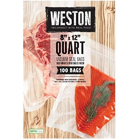 """Weston Vacuum Sealer Food Bags, 8"""" x 12"""", Quart Size, 100 Count, Transparent"""