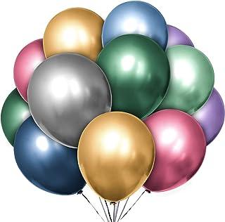 Hautton Metallic Balloons, 50 Pcs 12 Inch Premium Thicken Latex Shiny Chrome Balloon Helium Balloons for Birthday Wedding ...
