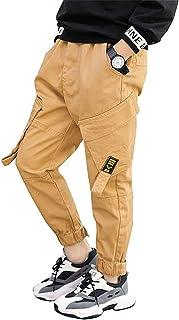 AFirst Pantalones de chándal para niños grandes, estilo casual, cintura elástica, pantalones de sarga con múltiples bolsillos
