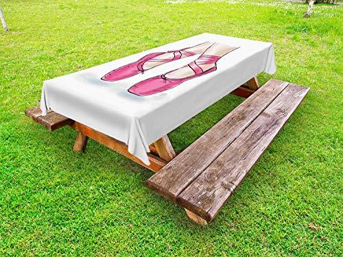 ABAKUHAUS Ballet Tafelkleed voor Buitengebruik, Hand Getrokken Schoenen van de ballerina, Decoratief Wasbaar Tafelkleed voor Picknicktafel, 58 x 120 cm, Wit Roze Pale Peach