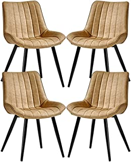 ZCXBHD Conjunto de 4 sillas Comedor Cuero la PU Asiento con Patas metálicas Respaldo Sillas Comedor Cocina Vintage Salón Sala Silla de recepción de Esquina (Color : Beige)