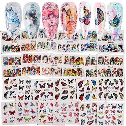 MWOOT 24 Fogli Farfalle Nail art Adesivi,Adesivi per Unghie Accessori,Decalcomanie con Trasferimento ad Acqua per DIY Nail Tips Decorazioni