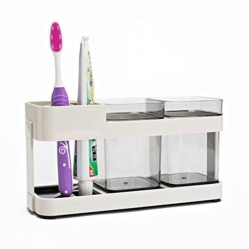 Woogor 2 Cups Plastic Toothbrush Stand Holder, Cream