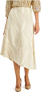 ALFANI Womens Beige Zippered Printed Midi A-Line Wear To Work Skirt AU Size:20