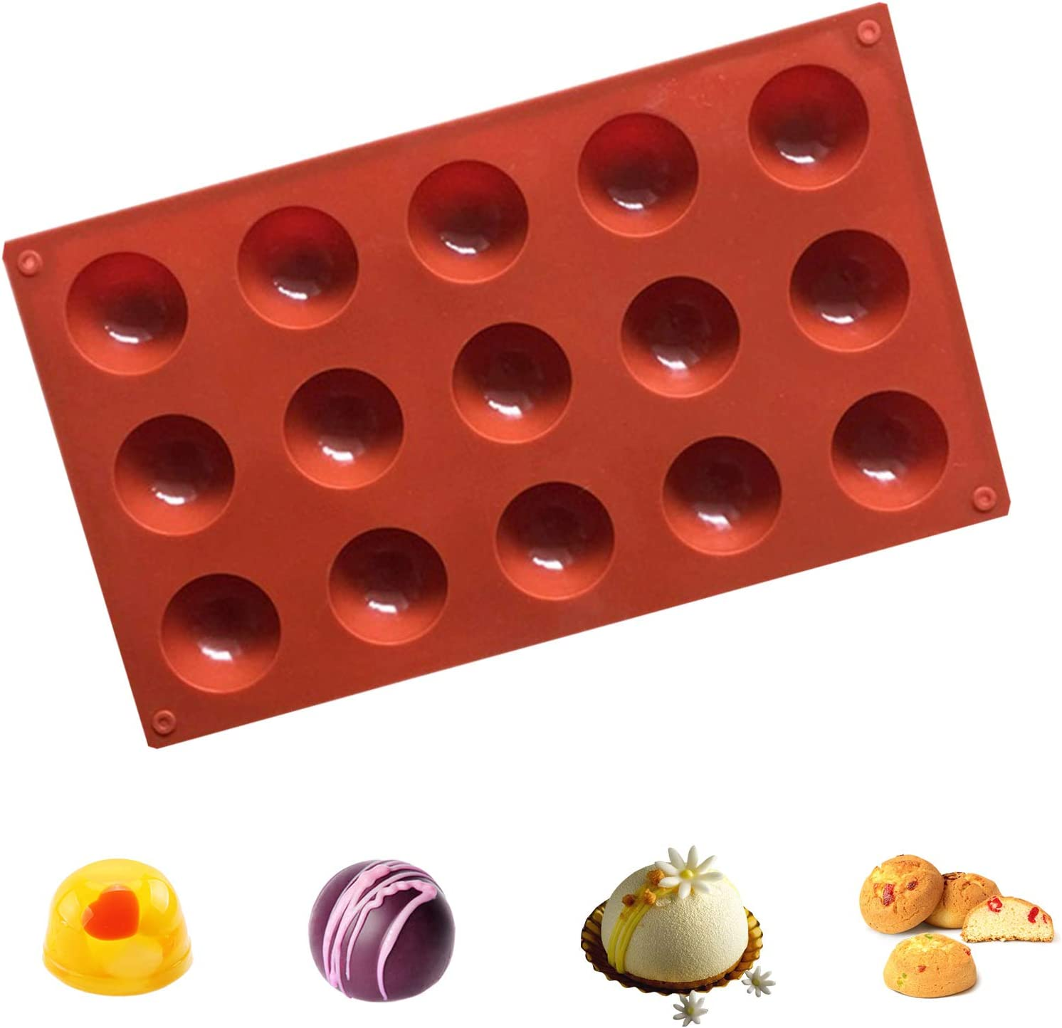 NMFIN Silicone Mold Cake Non-Stick Bakeware Mold for Making Dome Mousse 3 Pack Semi Sphere Silicone DIY Mold 6 Holes, 15 Holes, 24 Holes Chocolate Jelly