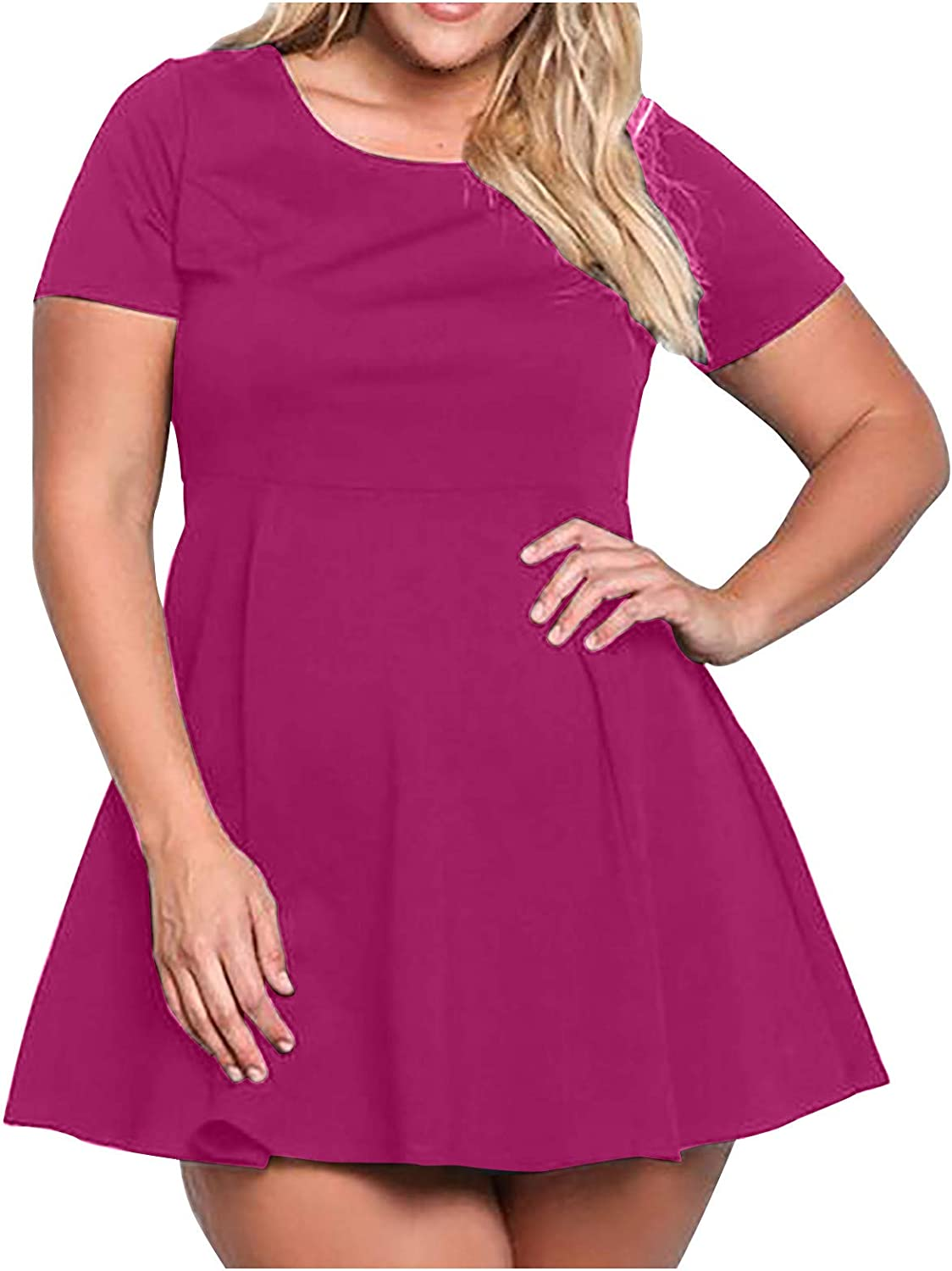 Women's Round Neck Short San Diego Mall Sleeve Dress Fashion Product Size Plus Casual S