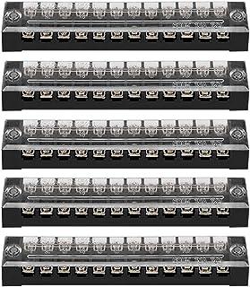 5PCS 600 V 15 A 5 mm pitch 12 Position Carte De Circuit Imprimé bornier bande de barrière rouge