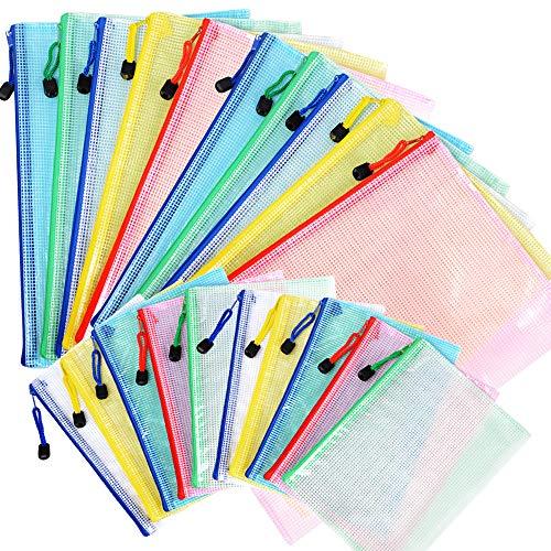 20pcs Carpetas Plástico de Documentos 2 Tamaños A4 A5 Bolsas de Archivo con Cremallera para Papel Accesorios Oficina Escuela Hogar Colores