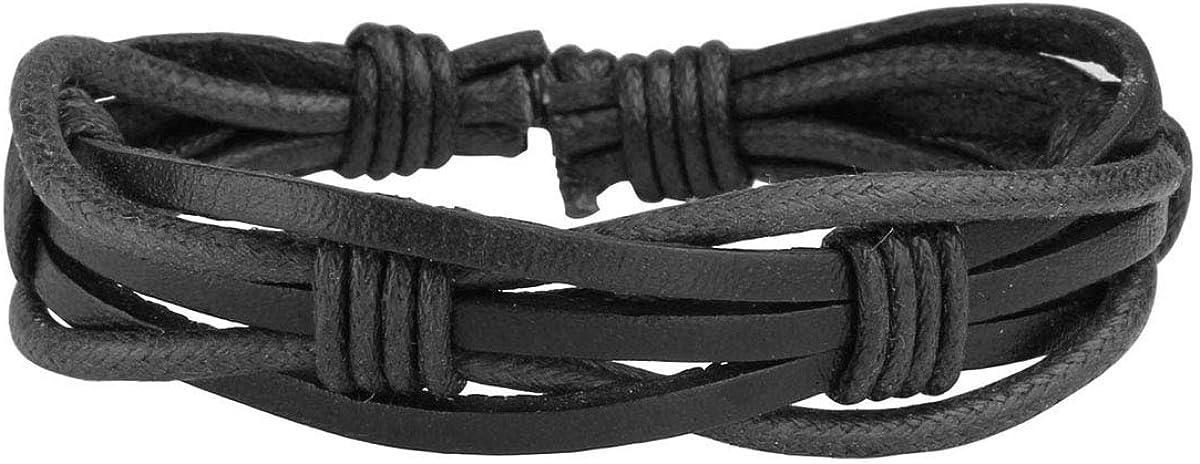 Eigso PU Leather Braided Handmade Cuff Wrap Bracelet Handbands for Men Women Stackable Adjustable
