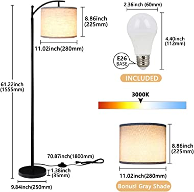 Rottogoon Floor Lamp for Living Room, LED Standing Lamp with 2 Lamp Shades for Bedroom, 9W LED Bulb Included - Black