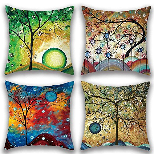 Gspirit 4 Pack Maravilloso Árbol Algodón Lino Throw Pillow Case Funda de...