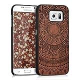 kwmobile Cover Compatibile con Samsung Galaxy S6 / S6 Duos - Custodia Protettiva in Legno - Back Case Posteriore per Smartphone - Sole Indiano Marrone Scuro
