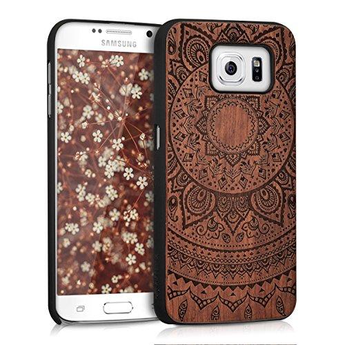 kwmobile Hülle kompatibel mit Samsung Galaxy S6 / S6 Duos - Handy Schutzhülle aus Holz - Cover Case Handyhülle Indische Sonne Dunkelbraun